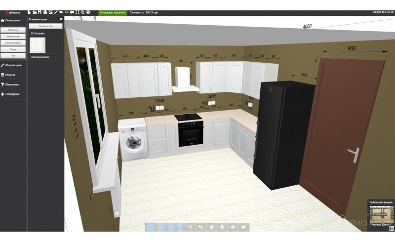 Бесплатный, моментальный расчет стоимости кухни с помощью онлайн конструктора от Трио Кухни.