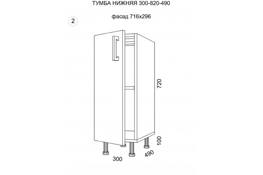 Тумба нижняя 1 дверь 300-820-490