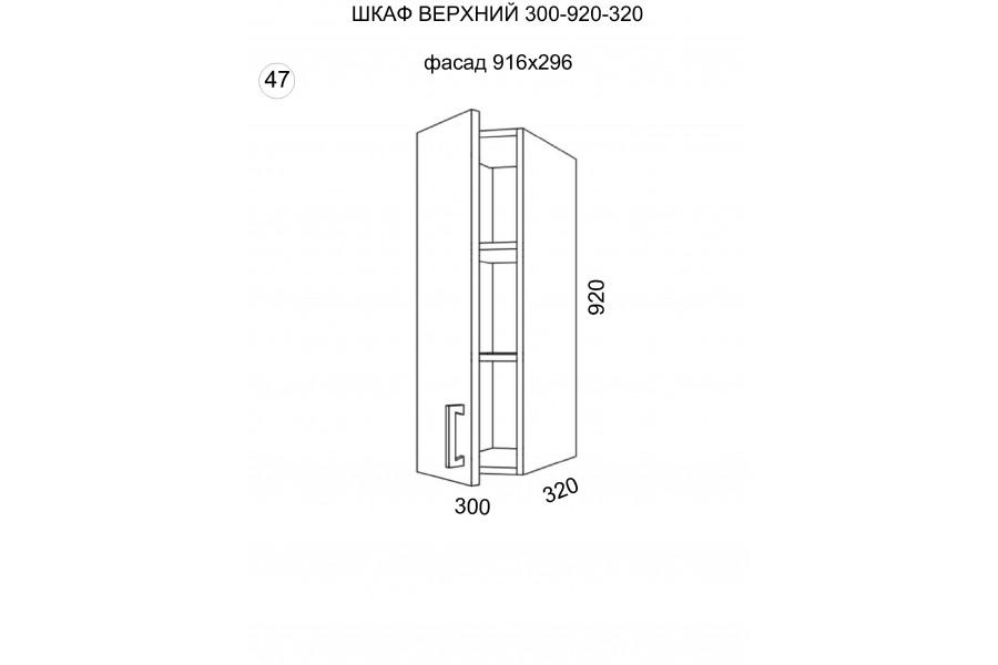 Шкаф верхний 1 дверь 300-920-320